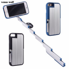 Holder for Apple iPhone 6 6S 6 Plus 6S Plus 7 7 Plus Bluetooth Remote Control Foldable Extendable 3 in 1 Selfie Stick Phone Case