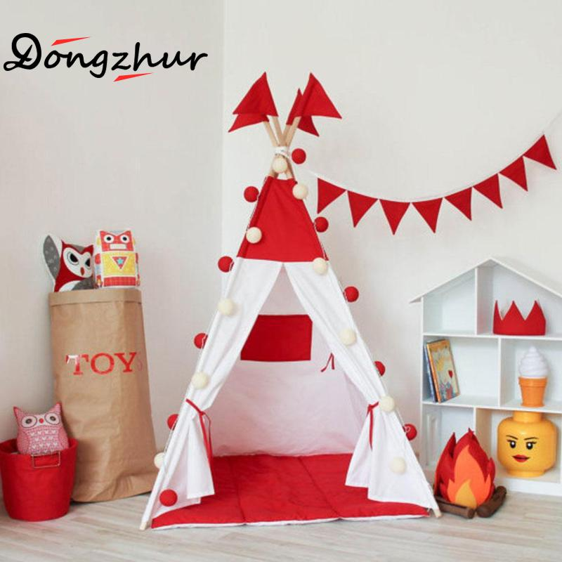Dongzhur Children Teepee Tent Cotton Canvas Teepee Children Toy Indian Tent White Red Play House For 0-3 Y Baby Room Tipi Tent yellow chevron pet teepee dog bed house teepee for dogs rabbit teepee