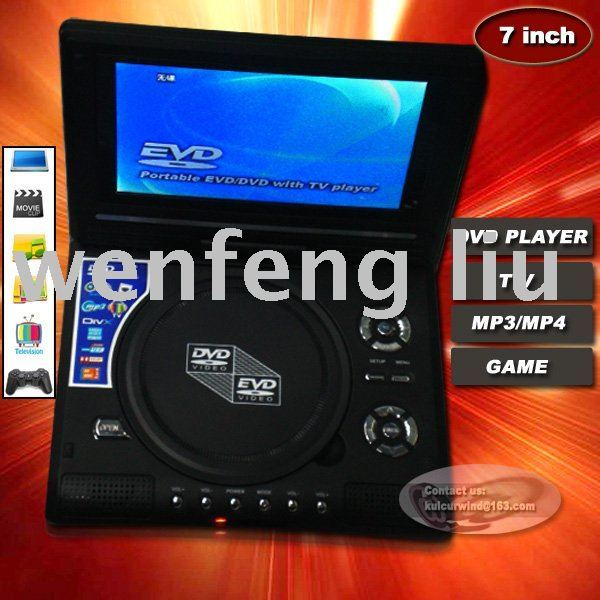 New design portable 7 inch DVD  player  with TV MP3 Mp4 game