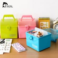 New Candy Color Thicken Storage Box Bin Portable Household Plastic Medicine Box Rectangle Square Locker Multipurpose Must Have