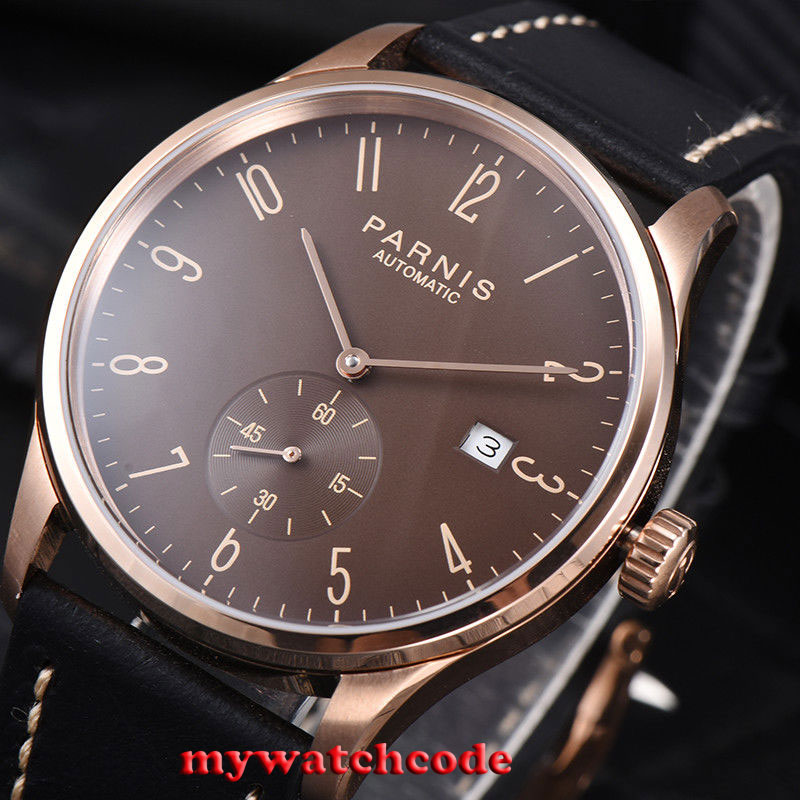 42mm parnis coffee dial rose golden case date automatic movement mens watch P957 цена и фото