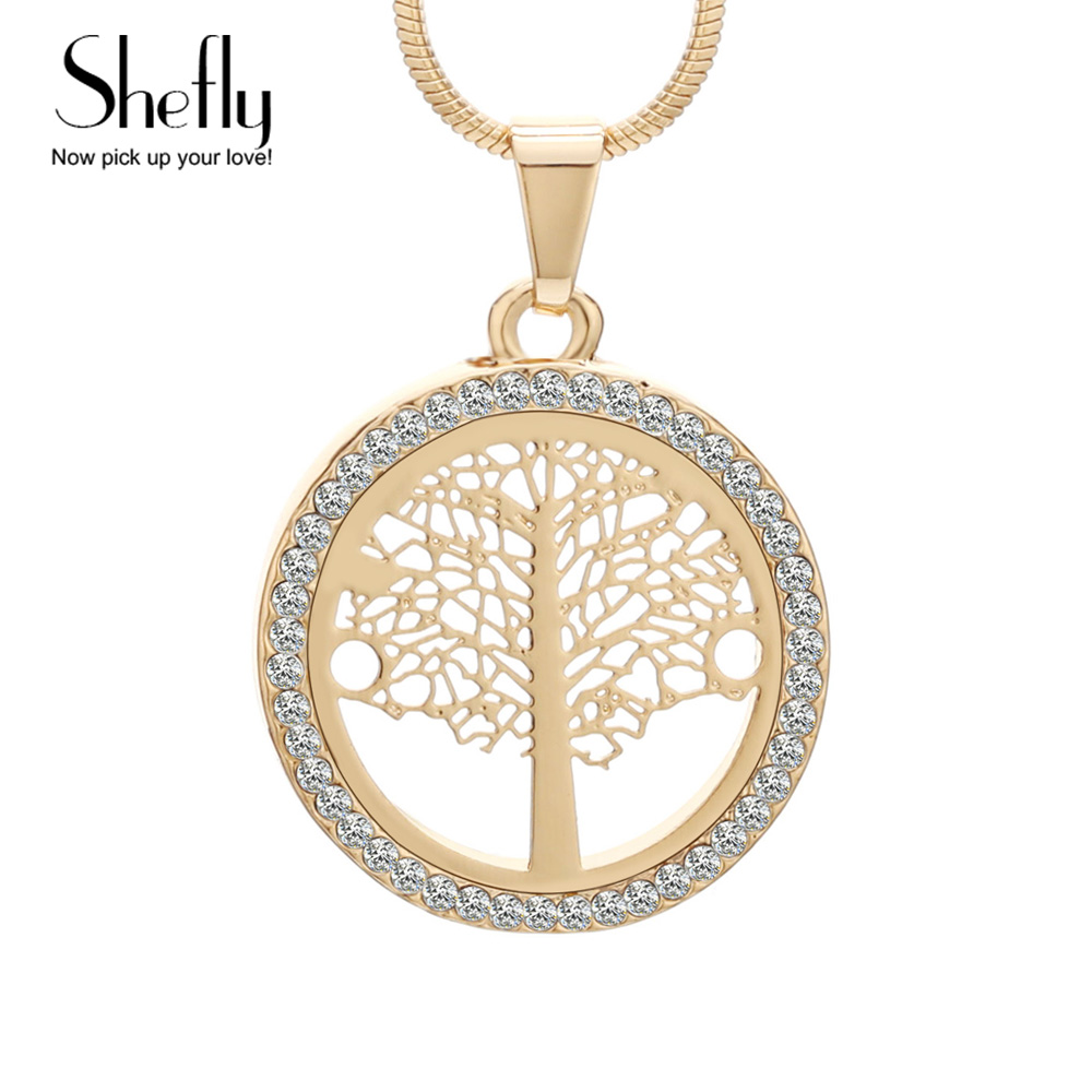 Tree Of Life Pendant Necklace Women Jewelry Rose Gold Silver Color Snake Chain Czech Crystal Fashion Necklaces & Pendants
