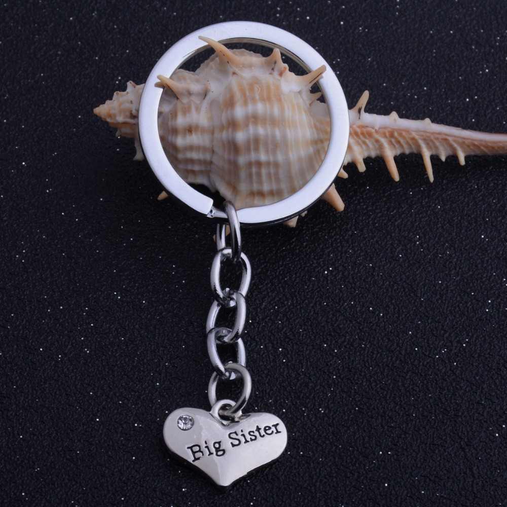 Clear Crystal Big Sister Love Heart Keyring Best Friends Sis Key Ring Chain Jewelry Keychain Family Friendship BFF Keyfob Gifts