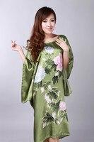 Alta Qualidade Verde Fêmea Falso Roupão de Seda Verão Salão Kimono Vestido Moda Novidade Nightdress Dropshipping One Size