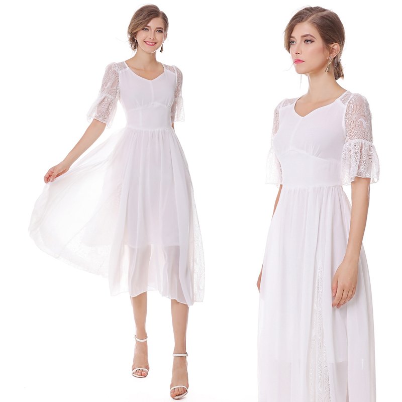 2018 Free Shipping Fashion Summer New Retro Lace Stitching White Fairy Dress Holiday Swing Elegant Dresses