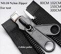 3 pieces Black color Outdoor Tent Zipper No.10 Nylon Zipper 80-300cm Open end Double slider Puller Hard Customized free shipping