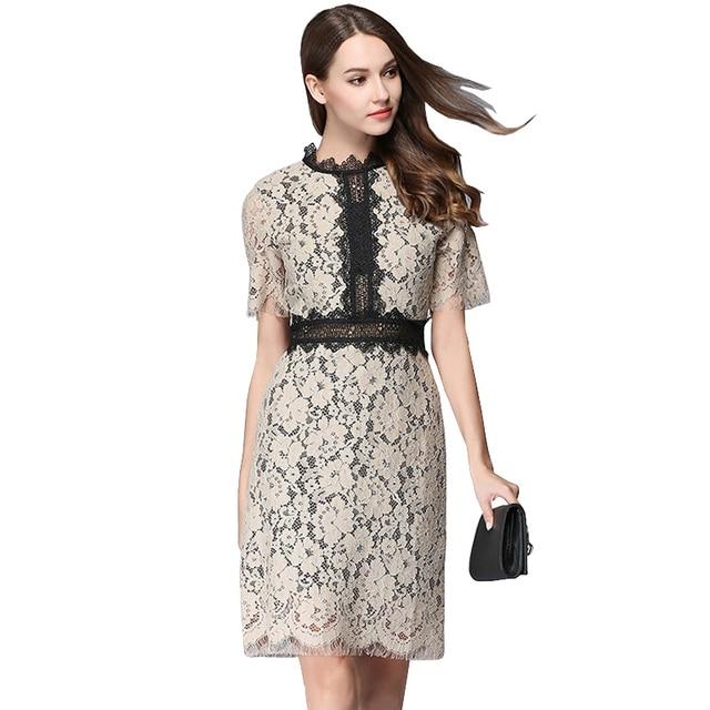 3bc7c754b Mulher Elegante Vestido De verão de Manga Curta Lace Crochet Bodycon Vestido  de Festa Vestido Vestidos
