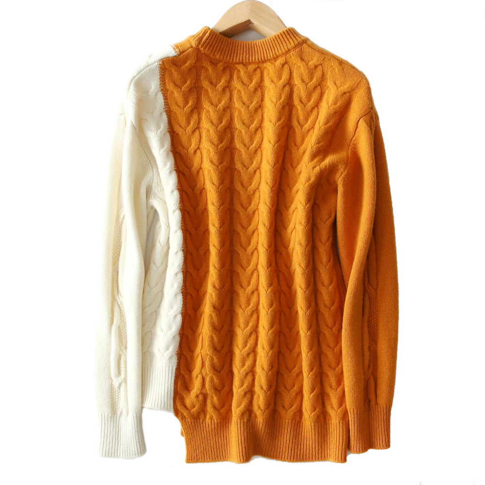 Contraste Pull 2018 Femmes Épaississent 100 Hiver Tricot Haute Yellow Patchwork Angleterre Cachemire fin gray Pulls Cavaliers Style brown Couleur Torsion g17qg