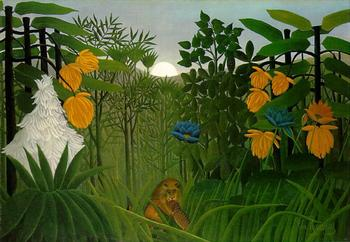 High quality Oil painting Canvas Reproductions The Repast of the Lion (1907)02  by Henri Rousseau painting hand painted