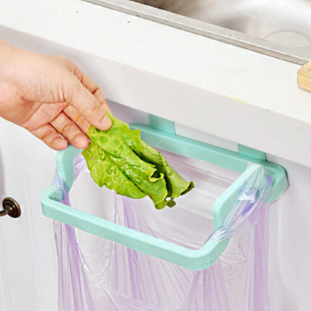 OUTAD Portable Garbage Bag Holder Hanging Kitchen Door Back Type Clip Stand Household Cabinet Cupboard Washcloth Hanger