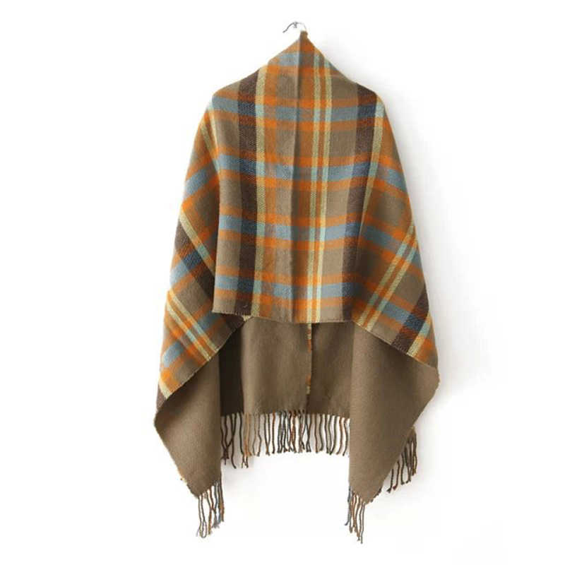 Горячая Женская обувь в клетку шарфы кашемировая шаль Цвет хаки большой шерстяной шарф Boho накидка зима пальто с кисточками шарф-пончо и Накидки A51