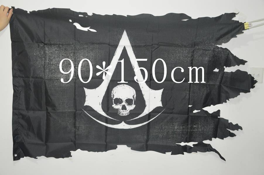 3 5 Ft Feet 90 150 Cm Shredded Skull Jolly Roger Pirate Flags With Grommets Broken Halloween Ghost Assassins Creed Flag Jolly Roger Pirate Flags Pirate Flagassassins Creed Flag Aliexpress