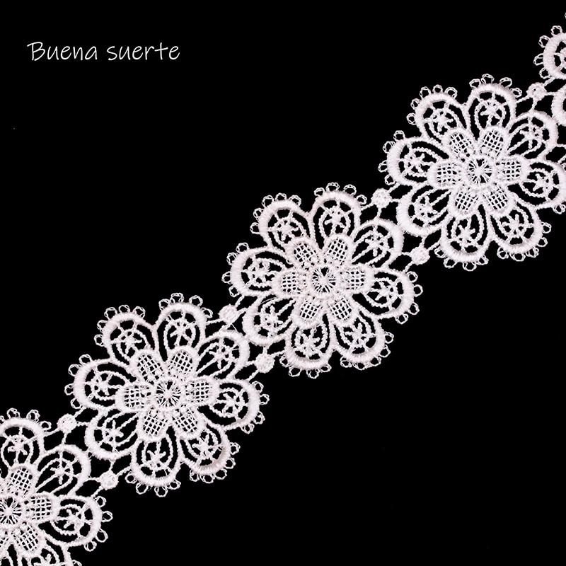 Buena Suerte 5 см Высокое качество белый/черный цветок кружевная лента с вышивкой ткань для шить DIY материалы ручной работы интимные аксессуары