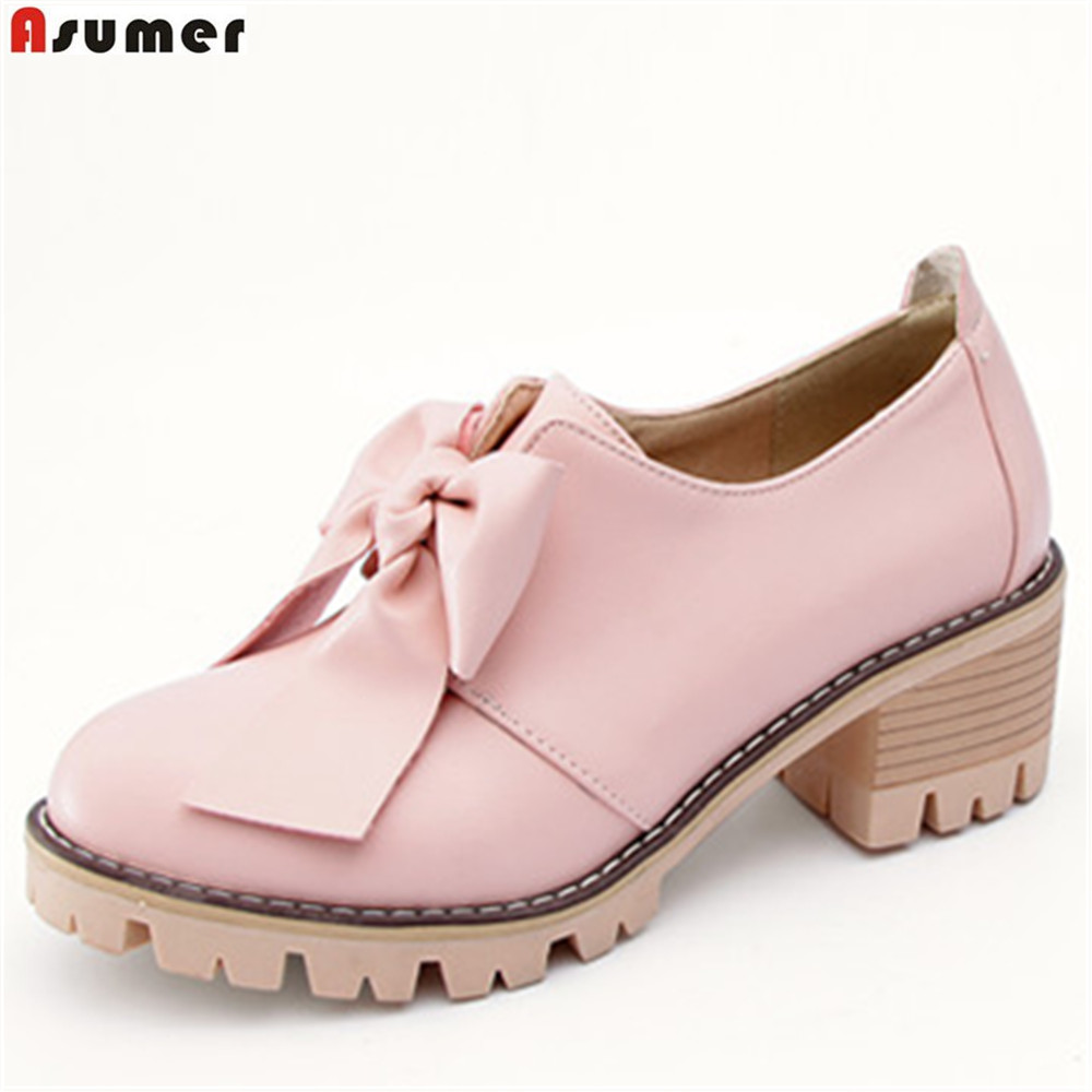 ASUMER black pink beige gray fashion spring autumn ladies shoes round toe square heel women high heels shoes big size 34-43 asumer black beige pointed toe buckle square heel spring autumn shoes woman pumps elegant ladies high heels shoes size 33 46