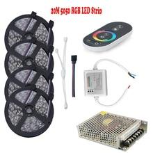 20 м 5050 RGB Светодиодные ленты 15 м 10 м диода Тирас Клейкие ленты свет DC12V 60LED/м дистанционного Сенсорный экран 18a РФ контроллер RGB Питание