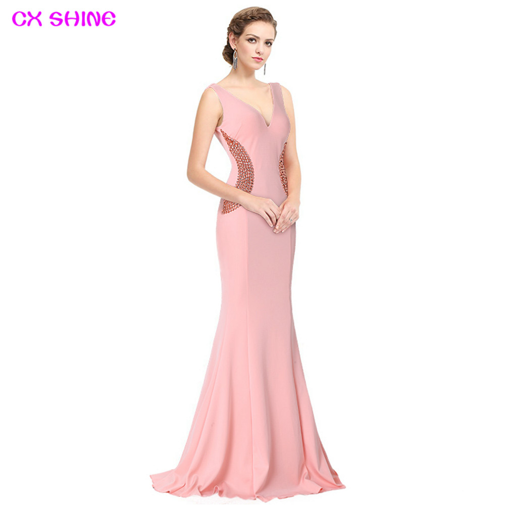 CX SHINE Elegant Black Pink Beading Mermaid Trumpet Long Evening Dresses Robe De Soiree Long Prom Party Dress Vestidos