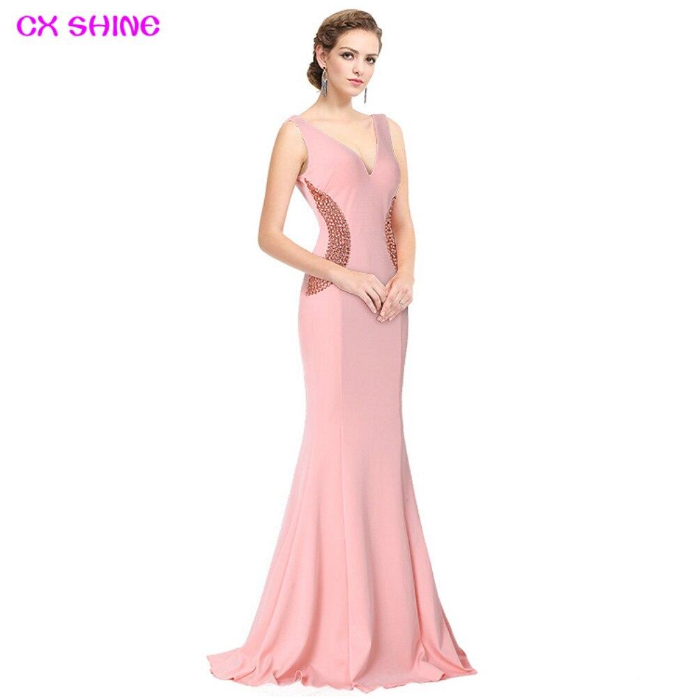 CX SHINE élégant noir rose perles sirène trompette longues robes de soirée robe de soirée longue robe de bal robe de soirée Vestidos