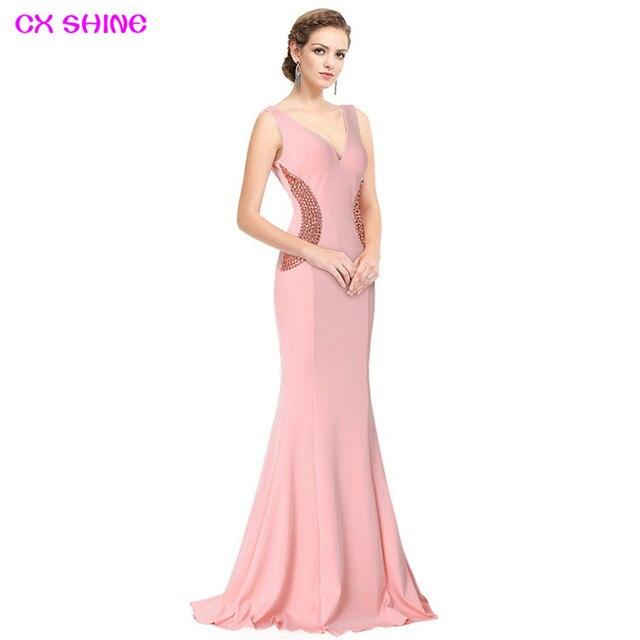 07b13582802 CX SHINE élégant noir rose perles sirène trompette longues robes de soirée  robe de soirée longue