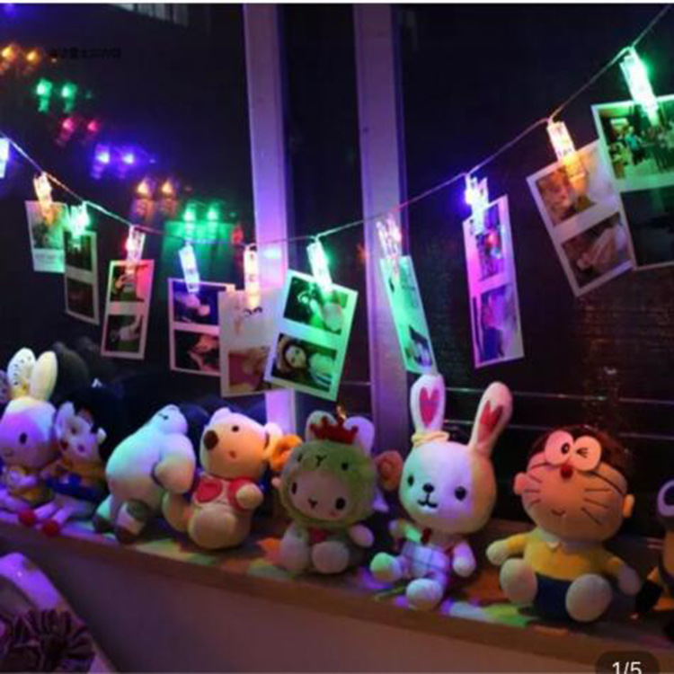 1M 10 Lamp Photo Clip Holder LED String Lights Christmas Decorations for Home New Year Fairy Lights Battery Home Decor Navidad in LED String from Lights Lighting