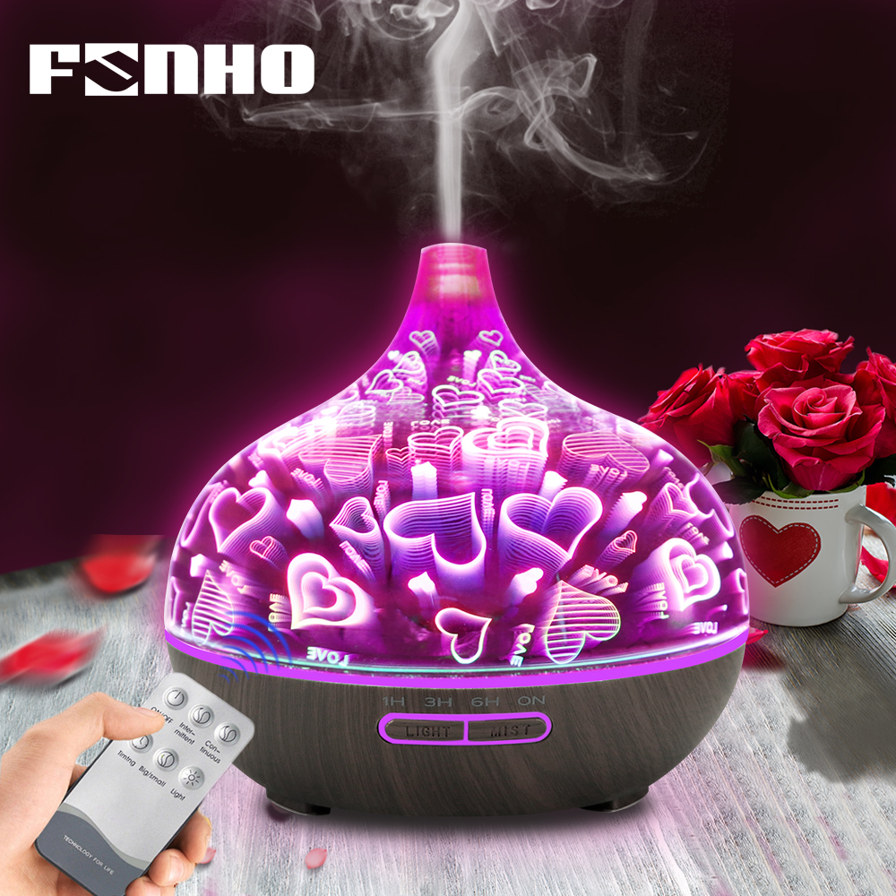FUNHO 400ml 3D Glass Aromatherapy Humidifier Essential Oil Diffuser Ultrasonic Mist Maker 7 Color LED Night Light Home Office