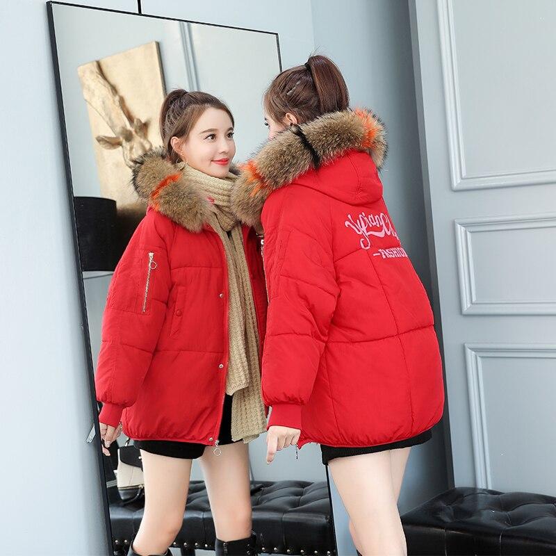 Fourrure Mode Faux Femmes rouge Veste Femelle D'hiver Beige 1016 Coton Le Parka Mince orange Vers rose Manteau Épaississent De Renard 60 Vêtements noir Bas Nouvelle 2018 Col IHICAqw