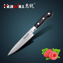 Huiwill brand Japanese VG10 Damascus stainless steel kitchen 5″utility knife with forged Pakka wood handle