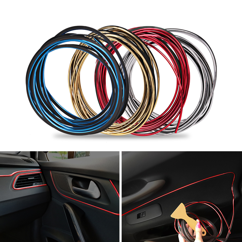 5m universal car interior decoration strips car sticker decorative trim strip decor auo. Black Bedroom Furniture Sets. Home Design Ideas