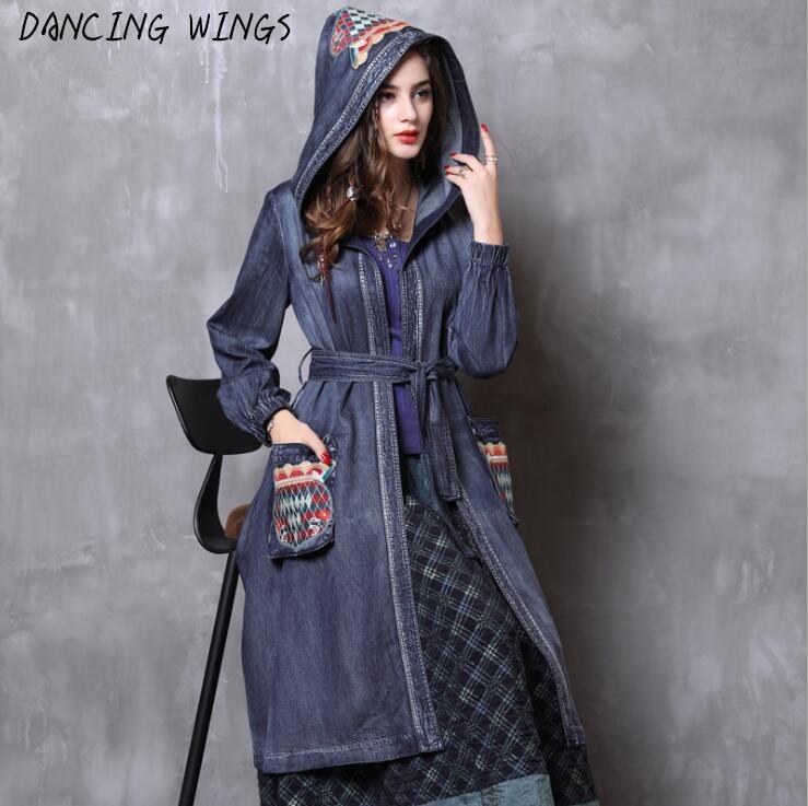 Retro Embroidery Blue Hooded Denim   Trench   Coat Women Autumn Fashion Long Sleeve Jeans Long Coats manteau femme
