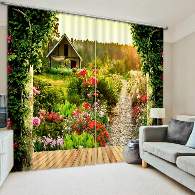 Pastoral Scenery Flowers Print Modern 3D Blackout Curtain for Bedding - Home Textile - Photo 1