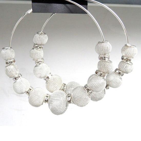 wholesale Silver Basketball Wives Large Mesh Beads Hoop Earrings Rhinestone Spacer Beads