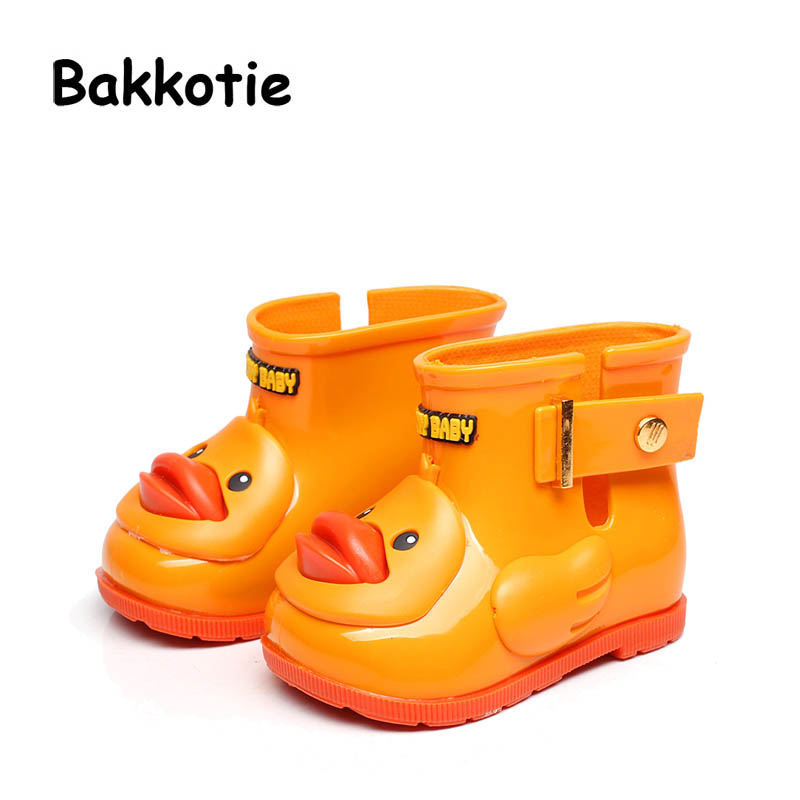 Bakkotie 2017 Kids Shoes Baby Boys Yellow Duck Rain Boots Girl Little Adorable Fashion Water Shoes Black Non Slip Children Pink