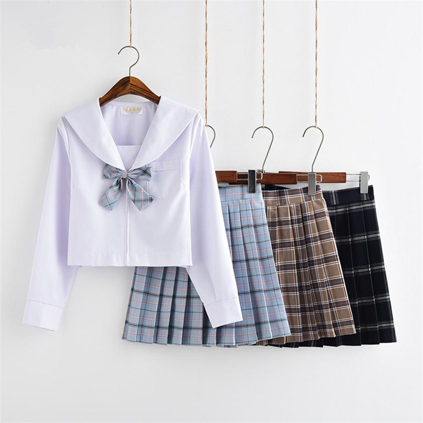 Japanese Style Fashion JK School Uniform College Girl Skirt Pleated Lattice Sailor Dress Tie Cute Girls Cosplay Clothing Set
