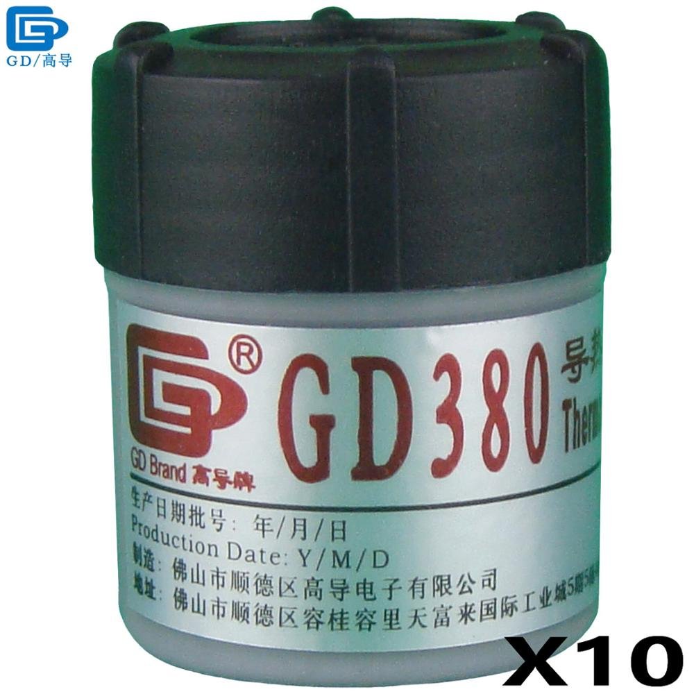 GD380 Thermal Conductive Grease Paste Silicone Plaster Heatsink Compound 10 Pieces Net Weight 30 Grams Gray Bottle Packing CN30