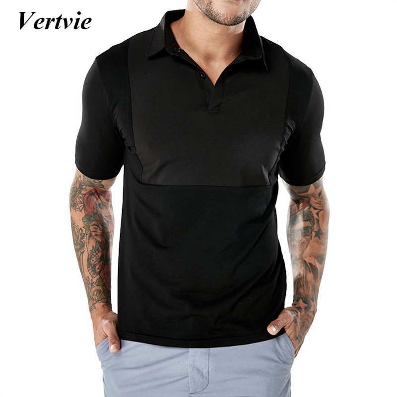Vertvie Turn-Dowm Golf Training Men Tshirt Solid Black White Summer Tee Shirts Golf Exercise T-Shirt Tops Tee Men Cool Top