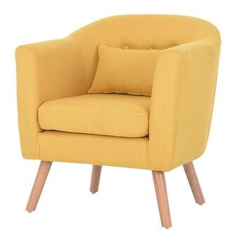 Armchair Linen Upholstery and Wooden Legs 1