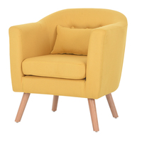 Modern Sofa 1 Single Seat Simple Design Living Room Furniture Leisure Armchair Single Couch Linen Upholstery and Wooden Legs