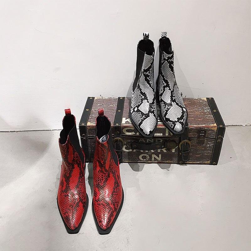 Женские ботинки, кожаные ботильоны со змеиным узором, ботинки челси на низком каблуке, Новое поступление, женская обувь на шикарном каблуке,