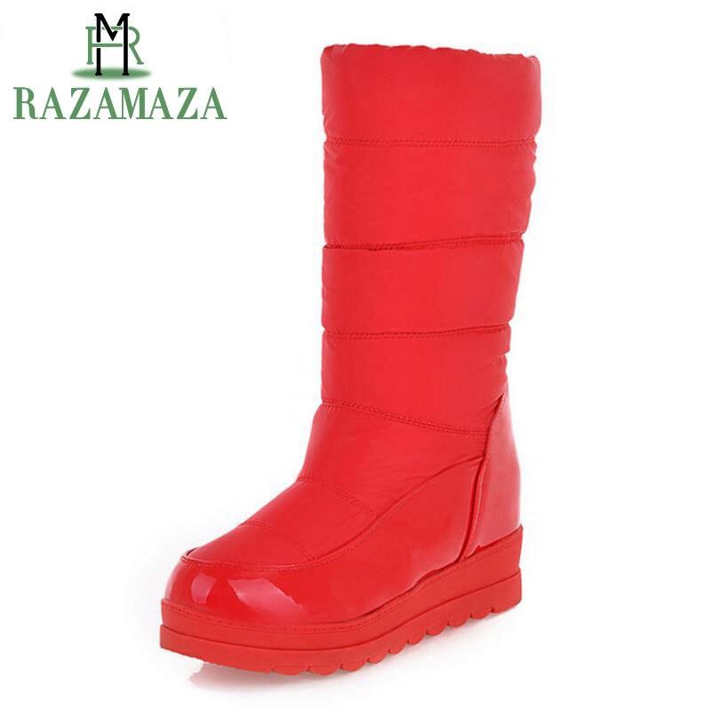 RAZAMAZA Women Half Short Snow Boots Wedges Snow Boots Thick Fur Shoes Women Winter Boots Warm Botas Women Footwears Size 34-39 coolcept size 34 43 fashion rusia women winter snow botas flats boots cross strap short boots with fur shoes for women footwears