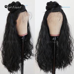 Image 3 - QD Tizer שחור שיער ארוך Loose גל שיער טבעי עם תינוק שיער Glueless סינטטי תחרה קדמית שחור נשים