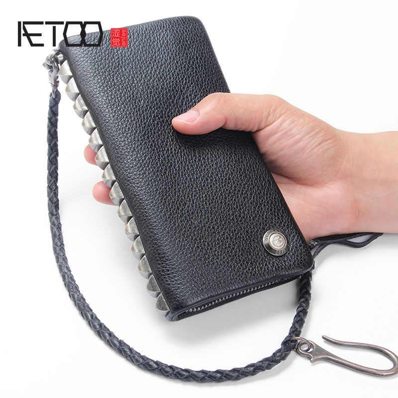 AETOO мужской кошелек ретро мужской кожаный Противоугонная цепь первый слой кожаная сумка Длинный кошелек на молнии кошелек ручной работы