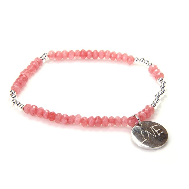 HEMISTON Thomas Red Chalcedony Beads Elastic Bracelets with 925 Sterling Silver Disc Love Charm Women Fine Jewelry Gift TS 015
