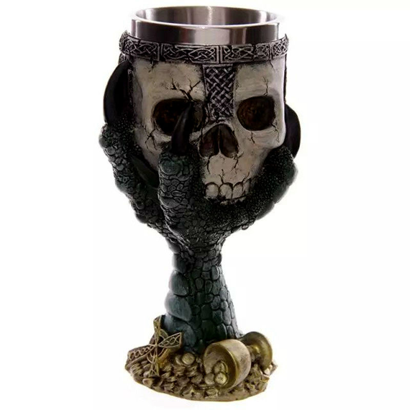 Horror Crypt 3D Talon Skull & Spine Goblet Resin StainlessSteel Liner Skull Cup Home Office Coffee Cup Crazy Gift With Package