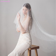 Jonnafe  Ivory Beaded Wedding Veils Long  Bridal Veil with Comb Wedding Accessories Bride Mantilla Wedding Veil