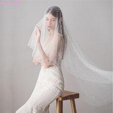 Jonnafe свадебная фата цвета слоновой кости с бусинами Длинная фата для невесты с гребнем свадебные аксессуары свадебная вуаль для невесты Мантилья свадебная вуаль