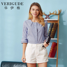 Veri Gude Mini Stripe Blouse and Shirt Female 100% Cotton  2017 New Spring Stripe Loose Leisure Shirt Three Quarter Sleeve Tops