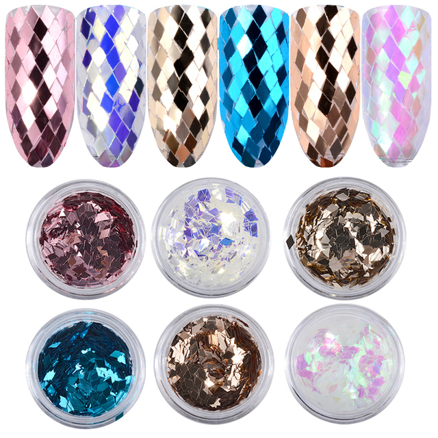 6Pcs Holo Diamond Sparkling Nail Sequins Glitters Set 3d Dazzling Charm Nail Tips Accessories Decorations