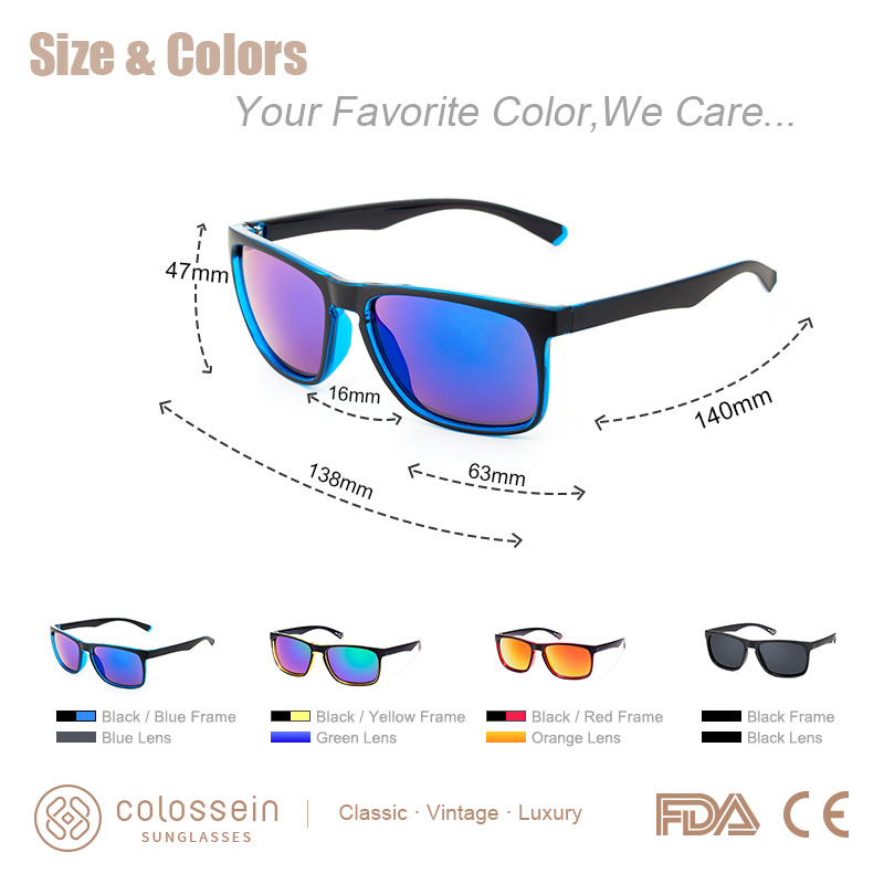 COLOSSEIN Sunglasses Men Fashion Vintage Modis Colorful Sun Glasses Square Eyewear Driving Sports Sun Bath Style Fishing UV400 in Men 39 s Sunglasses from Apparel Accessories
