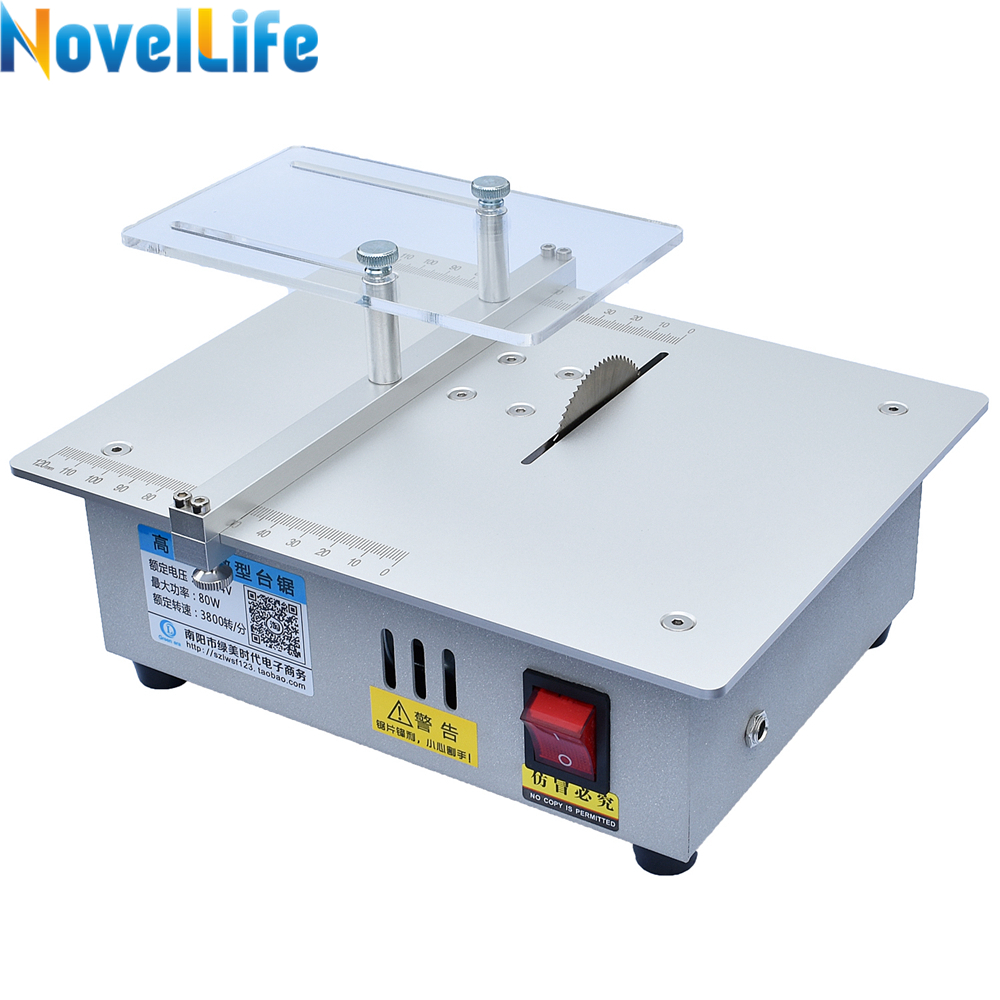 Mini Table Saw Handmade Woodworking Bench Saw DIY Hobby Model Crafts Cutting Saw with Power Adapter 24V 3800RPM Metal Frame