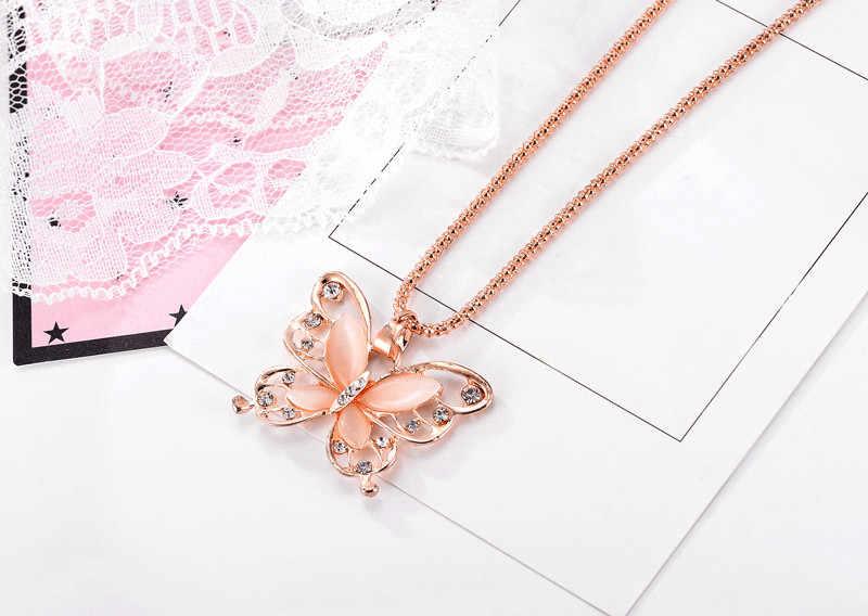 Цепочки и ожерелья дизайн розовое золото Опал бабочка подвеска Для женщин цепи Цепочки и ожерелья Женская цепочка на свитер корейский кулон Для женщин лучший подарок L4