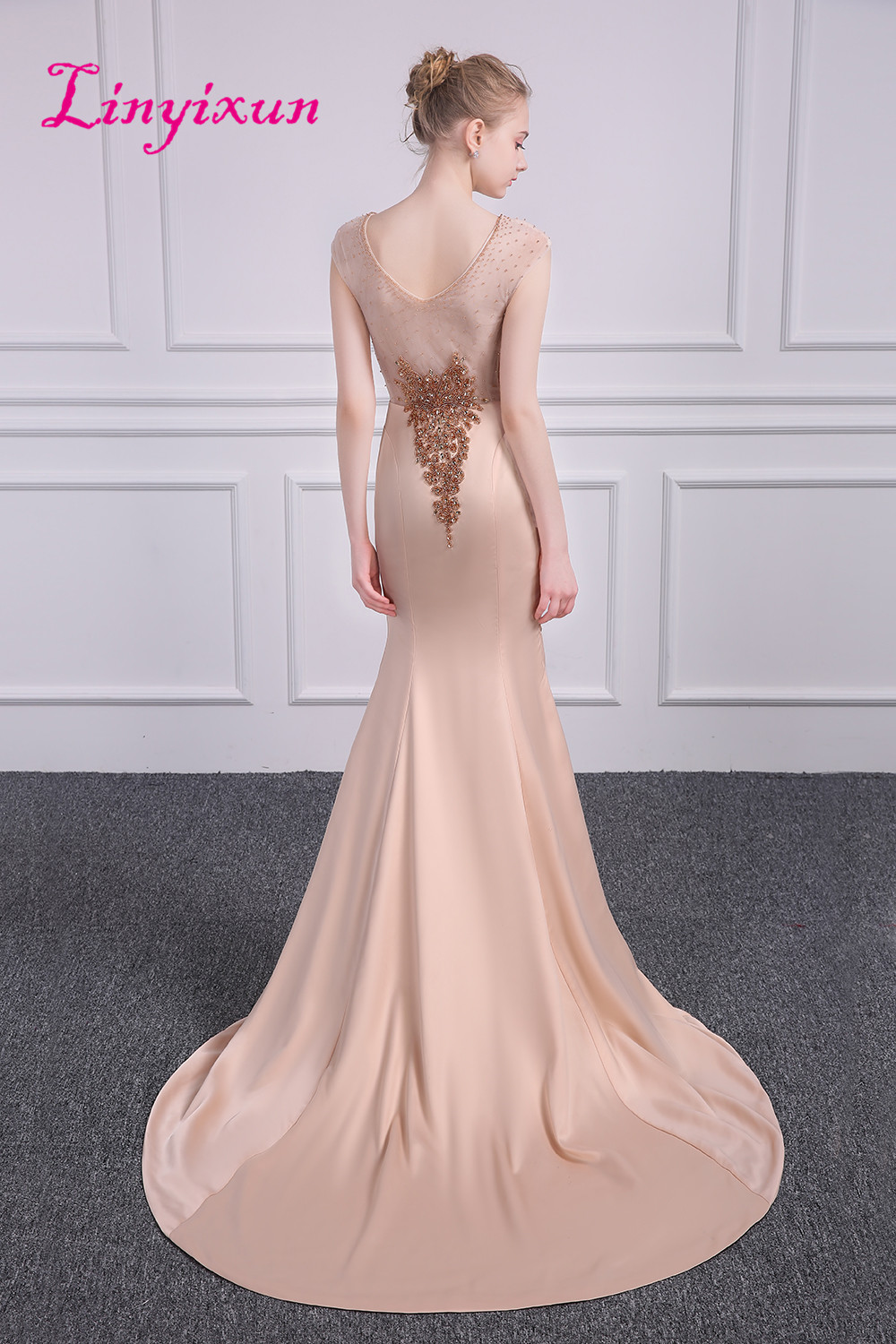 Linyixun Bling Bling Sexy Mermaid Prom Dresses 2018 With Glod Beaded ...